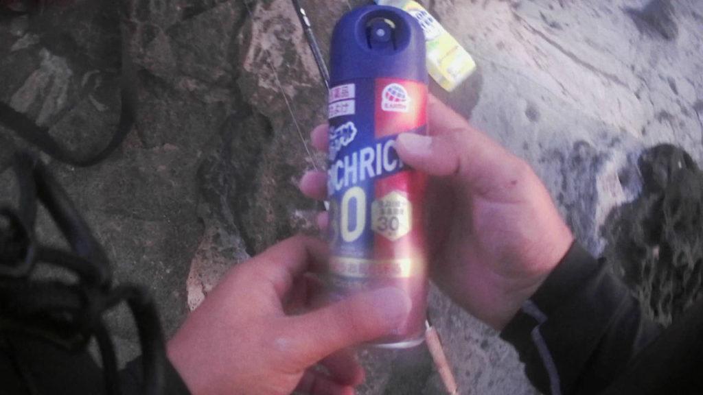 三浦半島の磯で虫除けスプレー